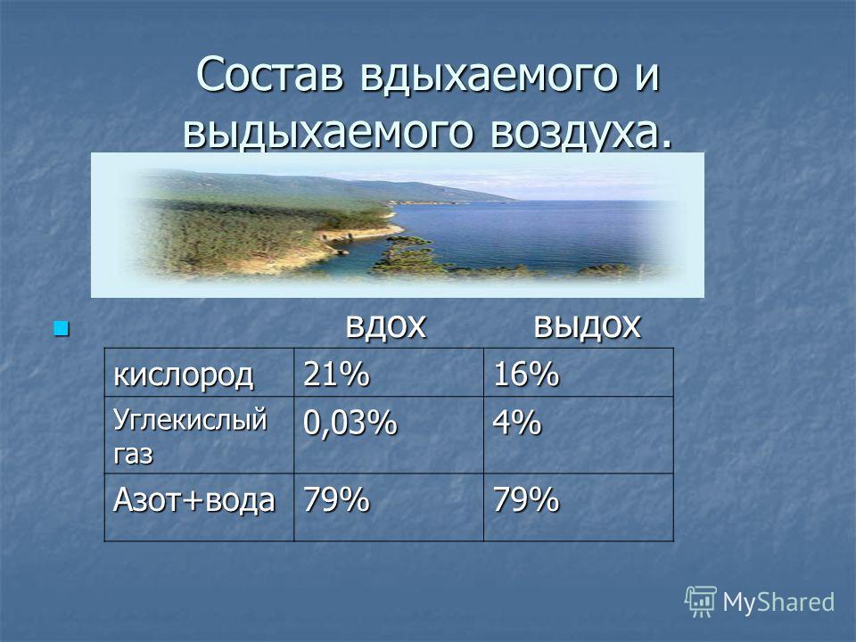 Состав вдыхаемого и выдыхаемого воздуха. вдох выдох вдох выдох кислород21%16% Углекислый газ 0,03%4% Азот+вода79%79%