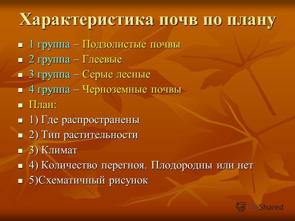 Характеристика почв по плану 1 группа – Подзолистые почвы 1 группа – Подзолистые почвы 2 группа – Глеевые 2 группа – Глеевые 3 группа – Серые лесные 3 группа – Серые лесные 4 группа – Черноземные почвы 4 группа – Черноземные почвы План: План: 1) Где