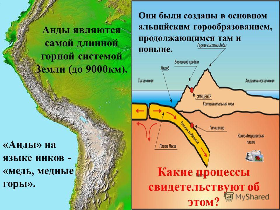 Анды являются самой длинной горной системой Земли (до 9000км). Они были созданы в основном альпийским горообразованием, продолжающимся там и поныне. Какие процессы свидетельствуют об этом? «Анды» на языке инков - «медь, медные горы».