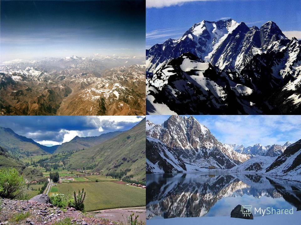 Горы состоят из параллельных или почти параллельных хребтов и межгорных долин. Космические снимки Анд