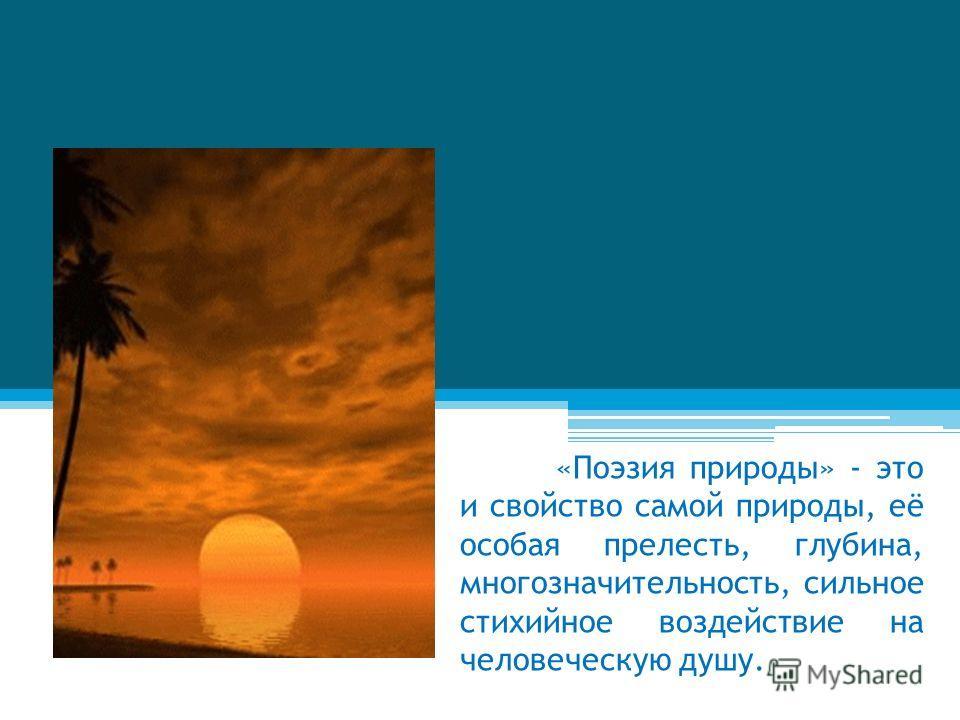 «Поэзия природы» - это и свойство самой природы, её особая прелесть, глубина, многозначительность, сильное стихийное воздействие на человеческую душу.