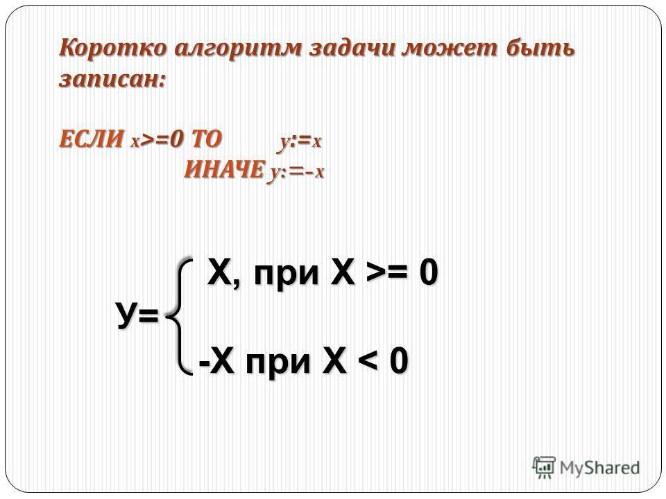 Коротко алгоритм задачи может быть записан : ЕСЛИ x>=0 ТО y:=x ИНАЧЕ y:=-x ИНАЧЕ y:=-x Х, при Х >= 0 Х, при Х >= 0У= -X при Х < 0 -X при Х < 0