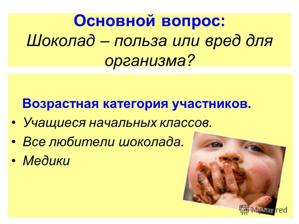 Основной вопрос: Шоколад – польза или вред для организма? Возрастная категория участников. Учащиеся начальных классов. Все любители шоколада. Медики