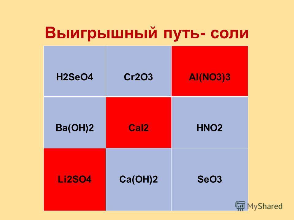 Выигрышный путь- основание K2SP2O5H2SO3 CuOHCa(OH)2Fe(OH)3 AlCl3HBrFeO