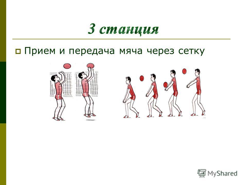 Прием и передача мяча через сетку