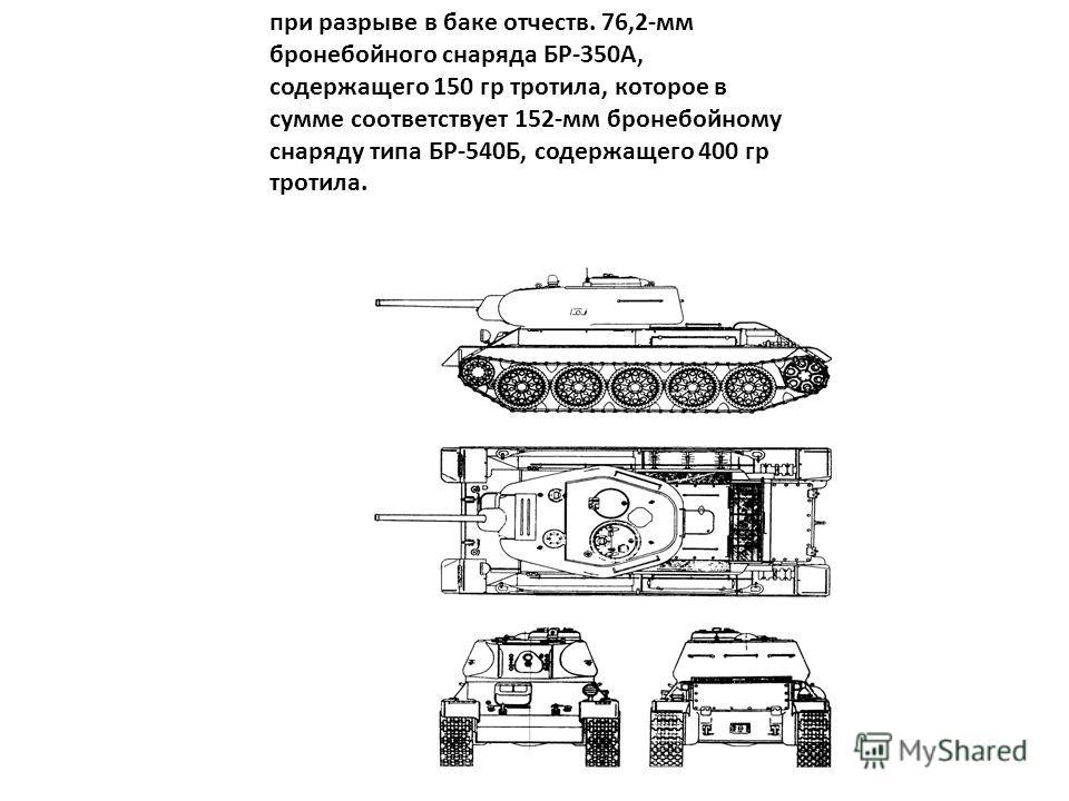 при разрыве в баке отчеств. 76,2-мм бронебойного снаряда БР-350А, содержащего 150 гр тротила, которое в сумме соответствует 152-мм бронебойному снаряду типа БР-540Б, содержащего 400 гр тротила.