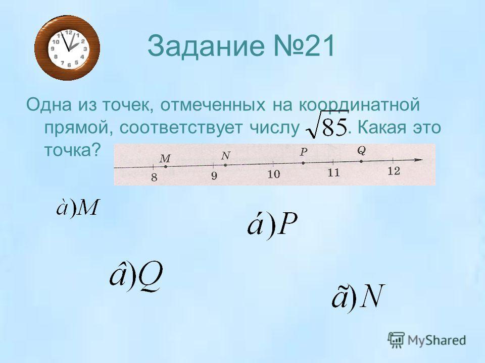 Задание 21 Одна из точек, отмеченных на координатной прямой, соответствует числу. Какая это точка?