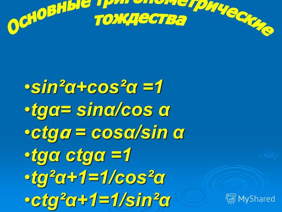 sin²α+cos²α =1 tgα= sinα/cos α ctgα = cosα/sin α tgα ctgα =1 tg²α+1=1/cos²α ctg²α+1=1/sin²α