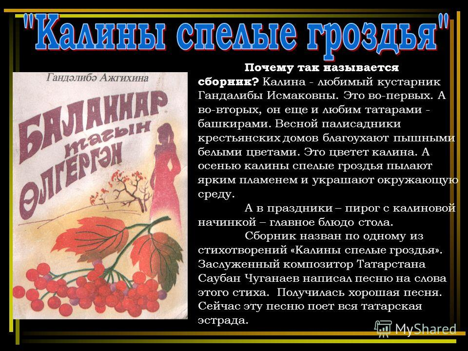 Почему так называется сборник? Калина - любимый кустарник Гандалибы Исмаковны. Это во-первых. А во-вторых, он еще и любим татарами - башкирами. Весной палисадники крестьянских домов благоухают пышными белыми цветами. Это цветет калина. А осенью калин