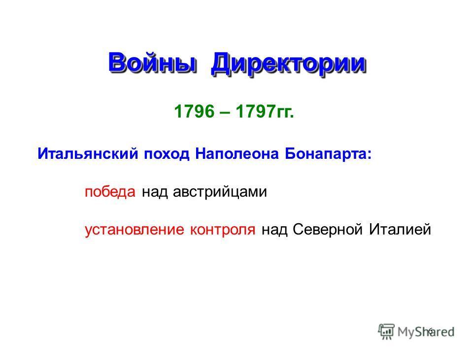 6 Войны Директории 1796 – 1797гг. Итальянский поход Наполеона Бонапарта: победа над австрийцами установление контроля над Северной Италией