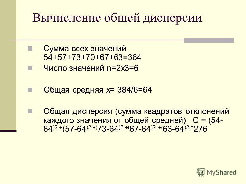Сумма всех значений 54+57+73+70+67+63=384 Число значений n=2х3=6 Общая средняя х= 384/6=64 Общая дисперсия (сумма квадратов отклонений каждого значения от общей средней) С = (54- 64 )2 + (57-64 )2 +( 73-64 )2 +( 67-64 )2 +( 63-64 )2 = 276 Вычисление