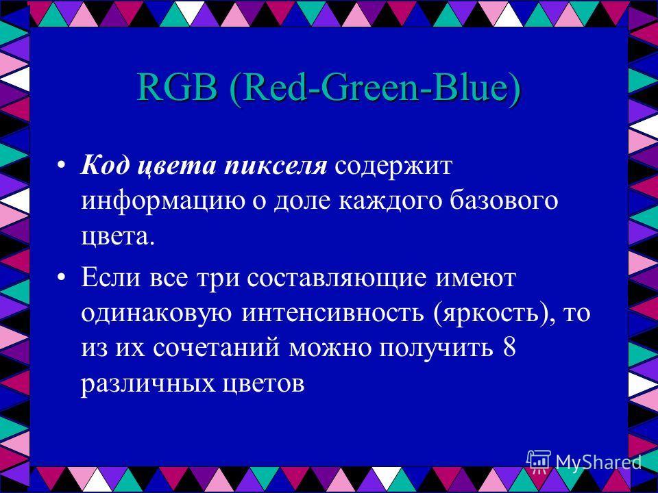 RGB (Red-Green-Blue) Код цвета пикселя содержит информацию о доле каждого базового цвета. Если все три составляющие имеют одинаковую интенсивность (яркость), то из их сочетаний можно получить 8 различных цветов