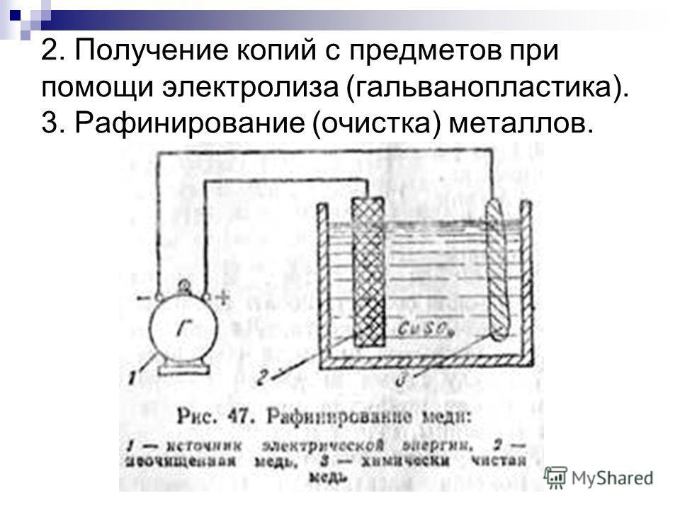 2. Получение копий с предметов при помощи электролиза (гальванопластика). 3. Рафинирование (очистка) металлов.