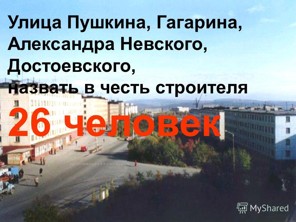 Улица Пушкина, Гагарина, Александра Невского, Достоевского, назвать в честь строителя 26 человек