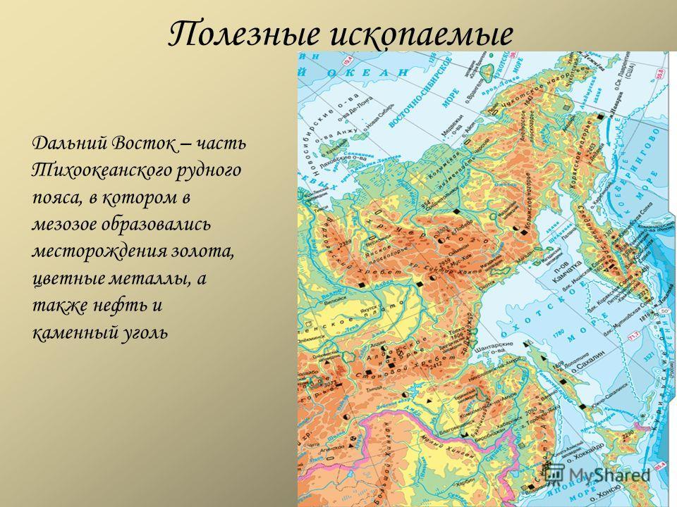 Полезные ископаемые Дальний Восток – часть Тихоокеанского рудного пояса, в котором в мезозое образовались месторождения золота, цветные металлы, а также нефть и каменный уголь
