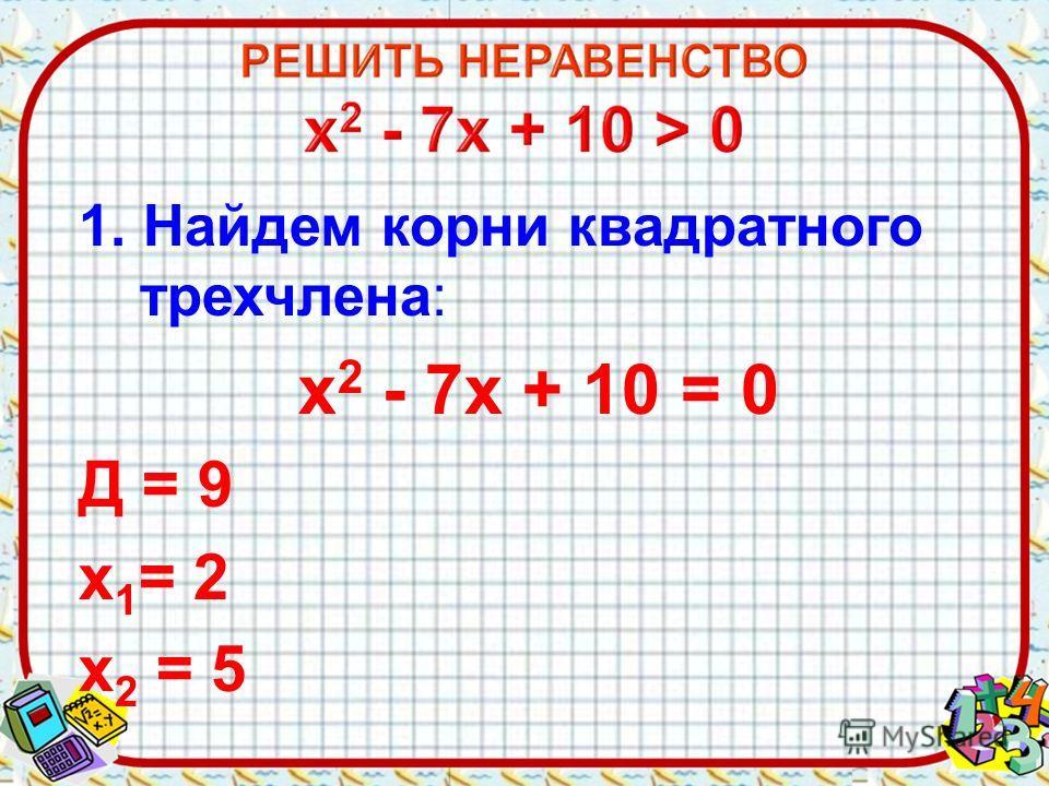 1. Найдем корни квадратного трехчлена: х 2 - 7х + 10 = 0 Д = 9 х 1 = 2 х 2 = 5