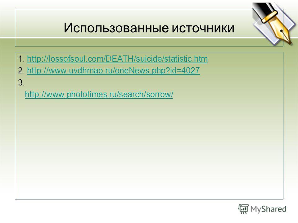 Использованные источники 1. http://lossofsoul.com/DEATH/suicide/statistic.htmhttp://lossofsoul.com/DEATH/suicide/statistic.htm 2. http://www.uvdhmao.ru/oneNews.php?id=4027http://www.uvdhmao.ru/oneNews.php?id=4027 3. http://www.phototimes.ru/search/so