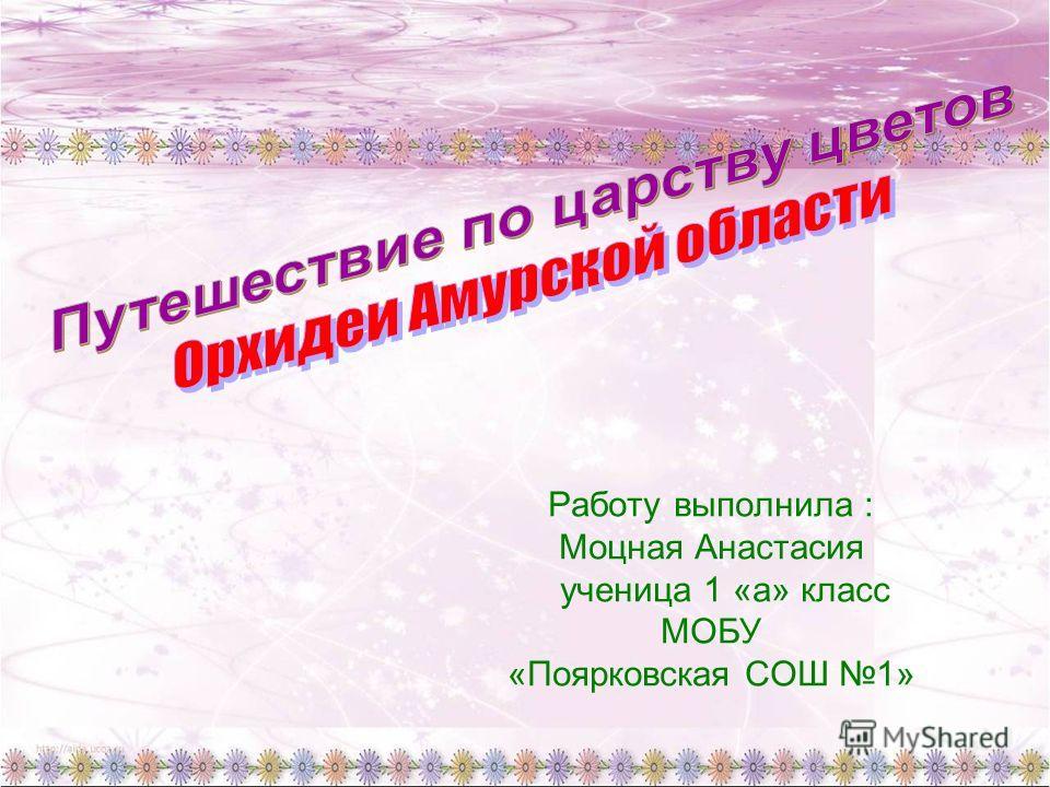Работу выполнила : Моцная Анастасия ученица 1 «а» класс МОБУ «Поярковская СОШ 1»