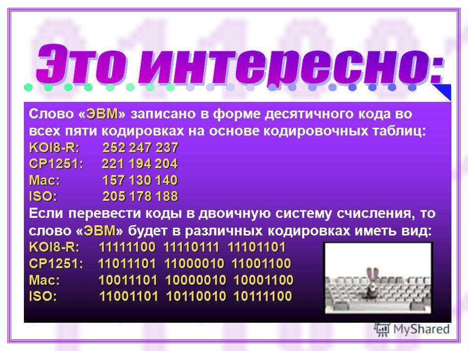 ЭВМ Слово «ЭВМ» записано в форме десятичного кода во всех пяти кодировках на основе кодировочных таблиц: KOI8-R: 252 247 237 CP1251: 221 194 204 Mac: 157 130 140 ISO: 205 178 188 ЭВМ Если перевести коды в двоичную систему счисления, то слово «ЭВМ» бу
