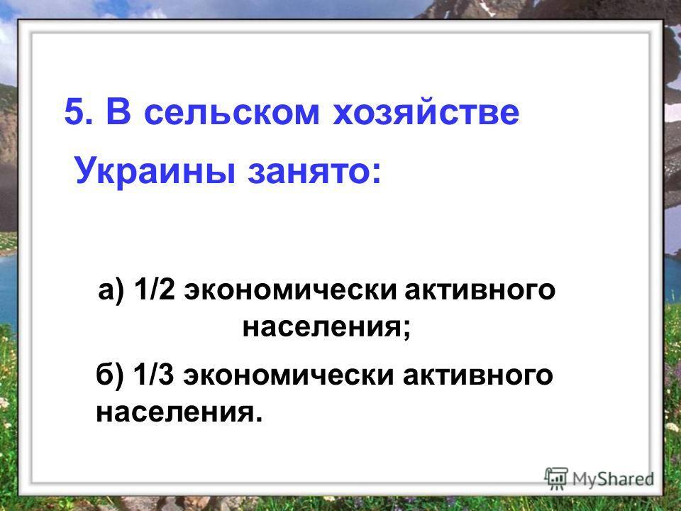 а) 1/2 экономически активного населения; 5. В сельском хозяйстве Украины занято: б) 1/3 экономически активного населения.