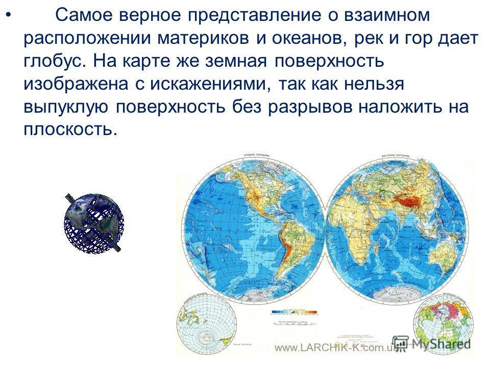 Самое верное представление о взаимном расположении материков и океанов, рек и гор дает глобус. На карте же земная поверхность изображена с искажениями, так как нельзя выпуклую поверхность без разрывов наложить на плоскость.