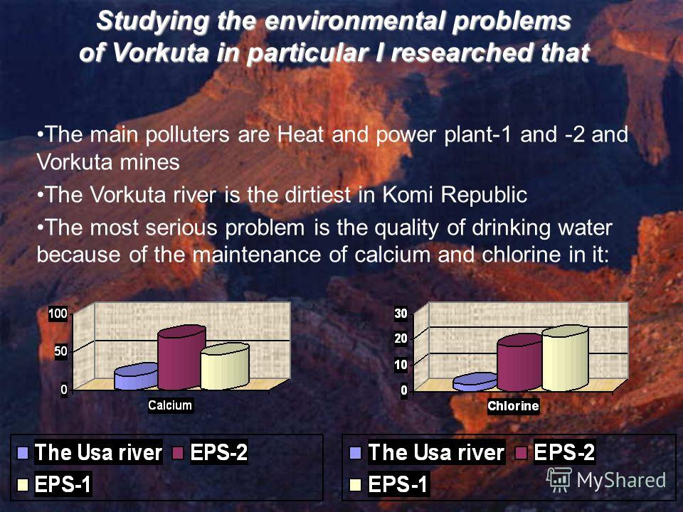 Studying the environmental problems of Vorkuta in particular I researched that The main polluters are Heat and power plant-1 and -2 and Vorkuta mines The Vorkuta river is the dirtiest in Komi Republic The most serious problem is the quality of drinki