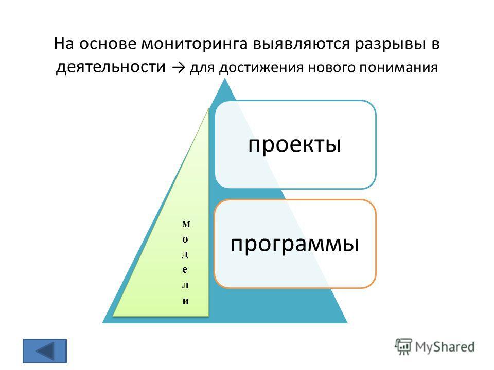 На основе мониторинга выявляются разрывы в деятельности для достижения нового понимания проектыпрограммы