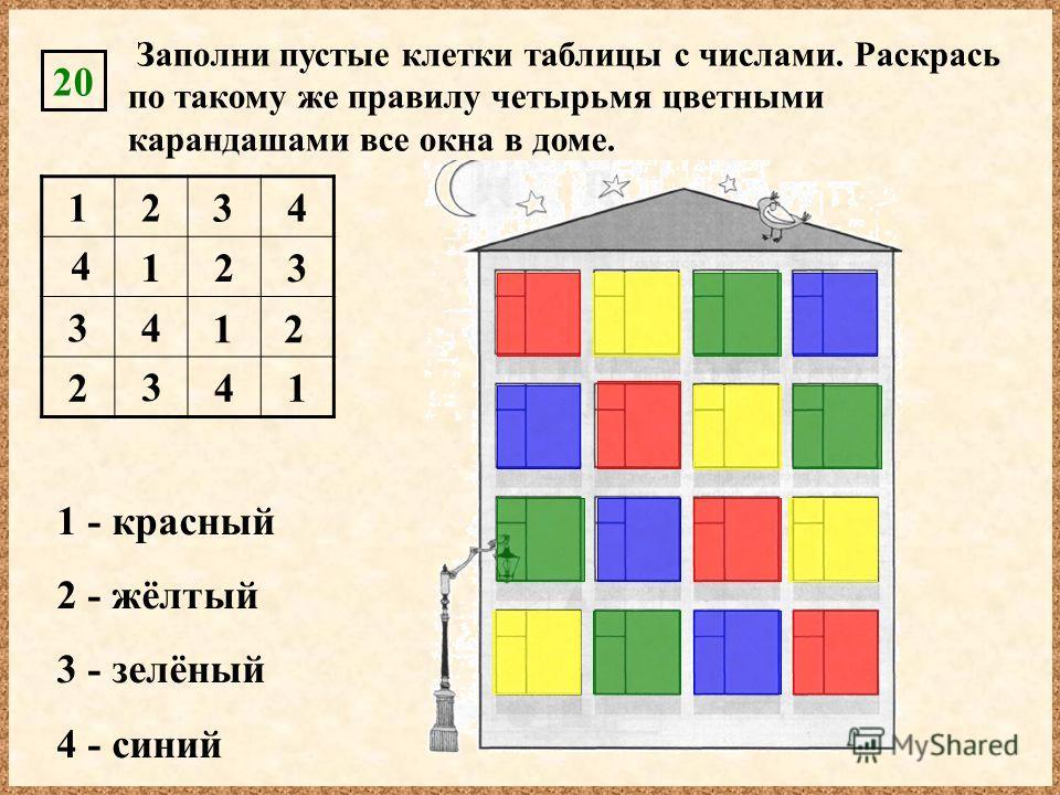 124 123 34 241 20 Заполни пустые клетки таблицы с числами. Раскрась по такому же правилу четырьмя цветными карандашами все окна в доме. 1 - красный 2 - жёлтый 3 - зелёный 4 - синий 3 4 3 12