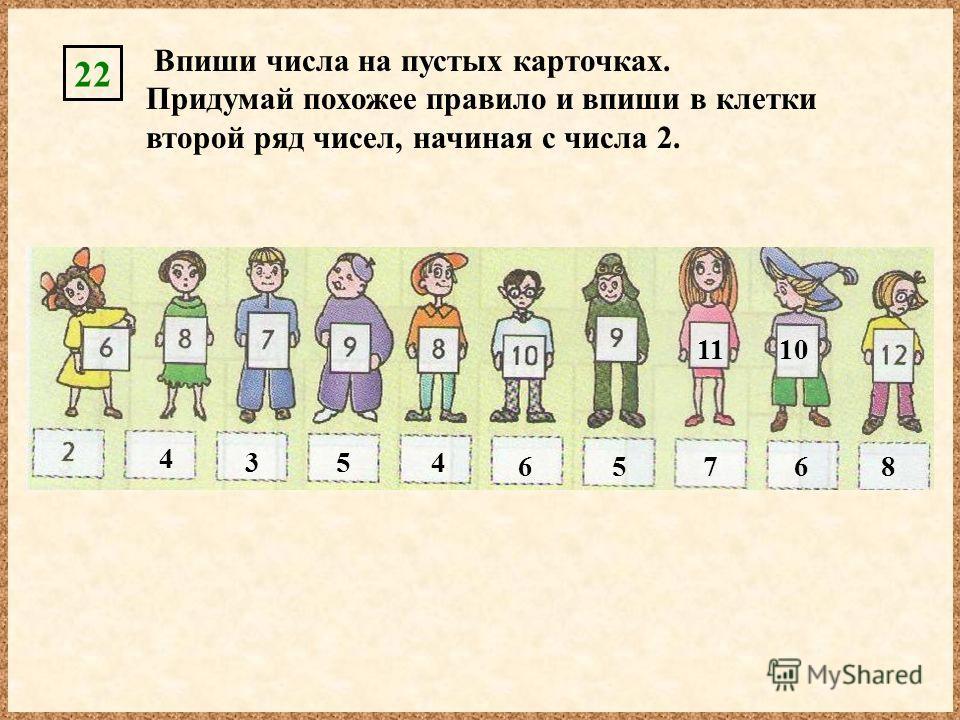 Впиши числа на пустых карточках. Придумай похожее правило и впиши в клетки второй ряд чисел, начиная с числа 2. 22 1110 4 354 65768