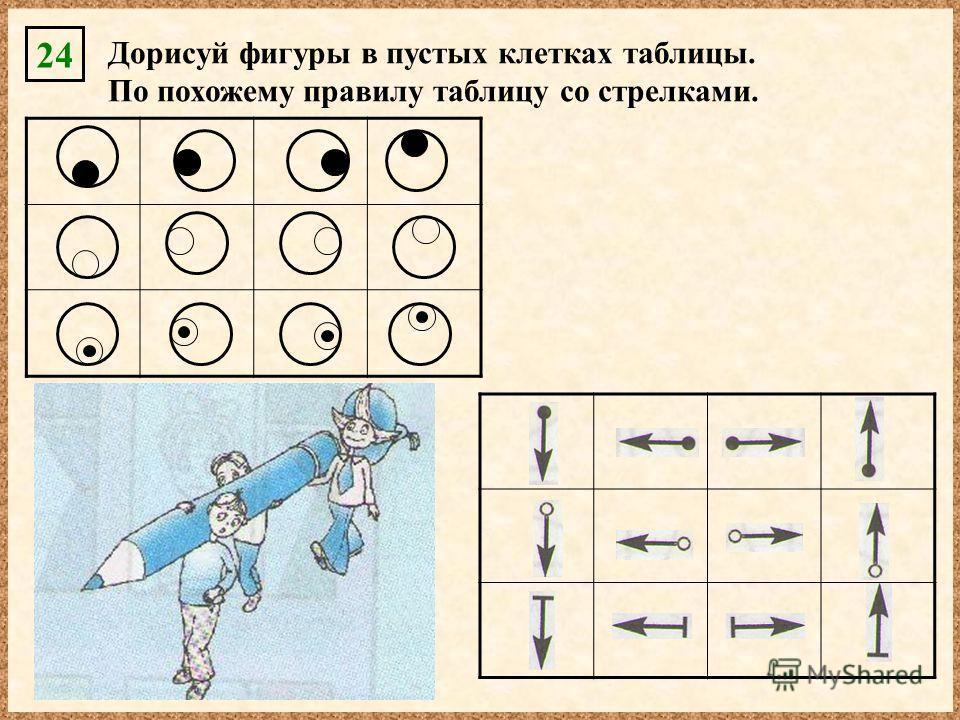 Дорисуй фигуры в пустых клетках таблицы. По похожему правилу таблицу со стрелками. 24