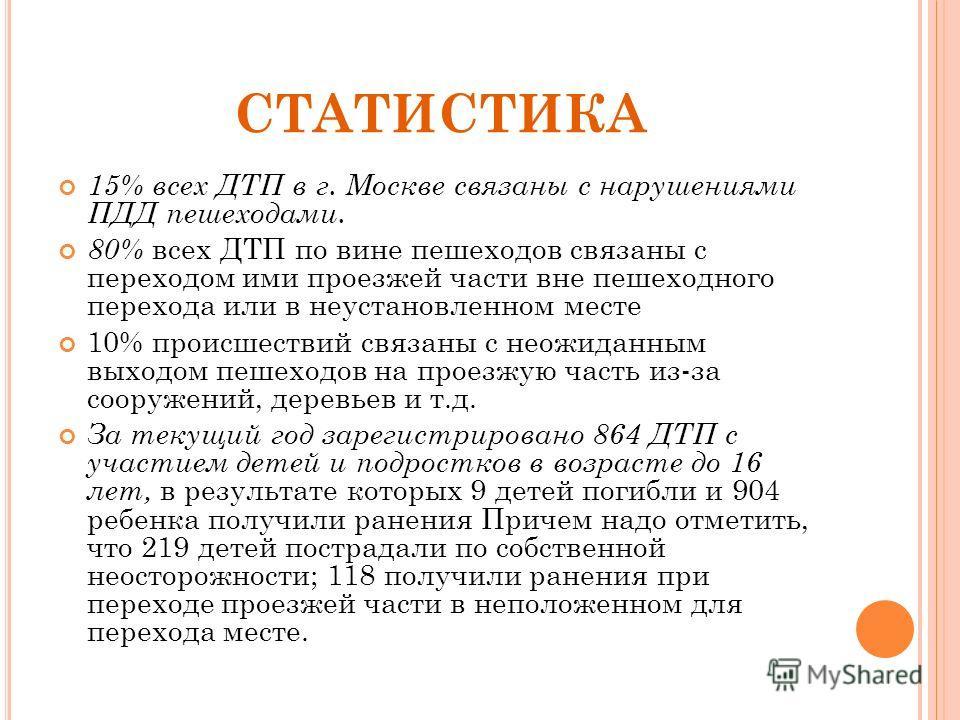 СТАТИСТИКА 15% всех ДТП в г. Москве связаны с нарушениями ПДД пешеходами. 80% всех ДТП по вине пешеходов связаны с переходом ими проезжей части вне пешеходного перехода или в неустановленном месте 10% происшествий связаны с неожиданным выходом пешехо