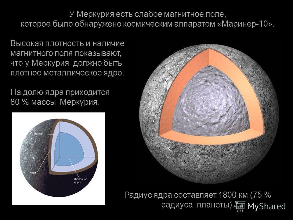 У Меркурия есть слабое магнитное поле, которое было обнаружено космическим аппаратом « Маринер -10». Высокая плотность и наличие магнитного поля показывают, что у Меркурия должно быть плотное металлическое ядро. На долю ядра приходится 80 % массы Мер