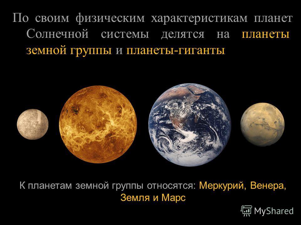 По своим физическим характеристикам планет Солнечной системы делятся на планеты земной группы и планеты - гиганты К планетам земной группы относятся: Меркурий, Венера, Земля и Марс
