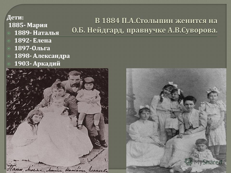 Дети : 1885- Мария 1889- Наталья 1892- Елена 1897- Ольга 1898- Александра 1903- Аркадий