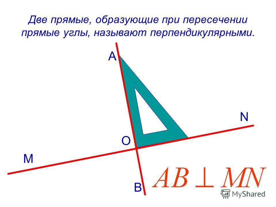 Две прямые, образующие при пересечении прямые углы, называют перпендикулярными. M B A N O