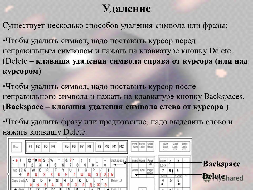 Удаление Существует несколько способов удаления символа или фразы: Чтобы удалить символ, надо поставить курсор перед неправильным символом и нажать на клавиатуре кнопку Delete. (Delete – клавиша удаления символа справа от курсора (или над курсором) Ч