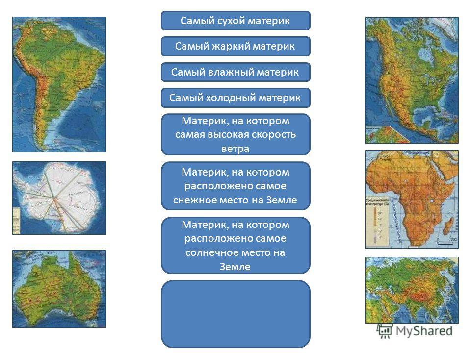 Самый сухой материк Самый жаркий материк Самый влажный материк Самый холодный материк Материк, на котором самая высокая скорость ветра Материк, на котором расположено самое снежное место на Земле Материк, на котором расположено самое солнечное место
