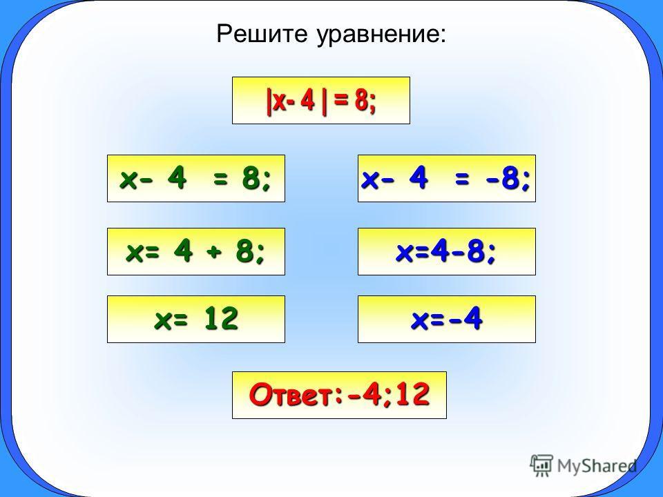 Решите уравнение: |x- 4 | = 8; x- 4 = 8; x- 4 = -8; x= 4 + 8; x=4-8; x= 12 x=-4 Ответ:-4;12