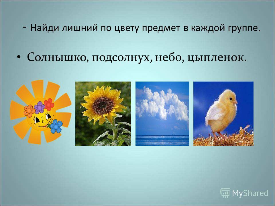 - Найди лишний по цвету предмет в каждой группе. Солнышко, подсолнух, небо, цыпленок.