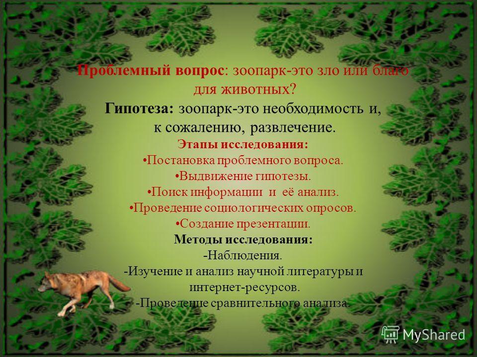 Проблемный вопрос: зоопарк-это зло или благо для животных? Гипотеза: зоопарк-это необходимость и, к сожалению, развлечение. Этапы исследования: Постановка проблемного вопроса. Выдвижение гипотезы. Поиск информации и её анализ. Проведение социологичес