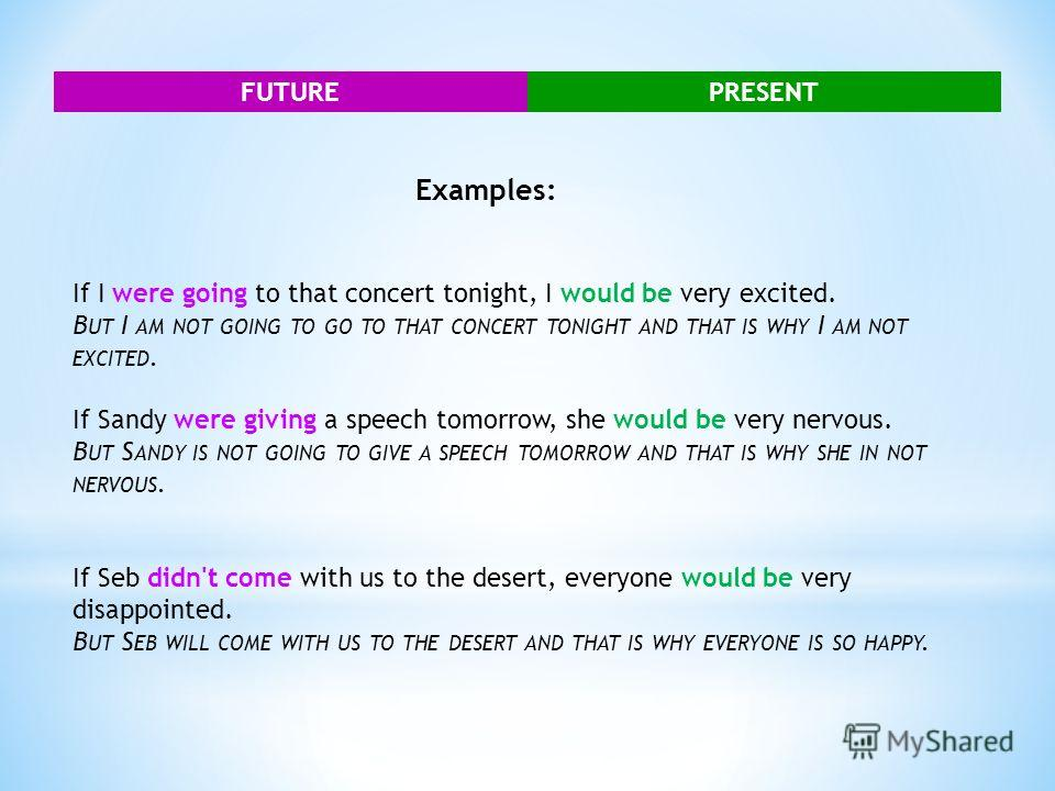 FUTUREPRESENT Examples: If I were going to that concert tonight, I would be very excited. B UT I AM NOT GOING TO GO TO THAT CONCERT TONIGHT AND THAT IS WHY I AM NOT EXCITED. If Sandy were giving a speech tomorrow, she would be very nervous. B UT S AN