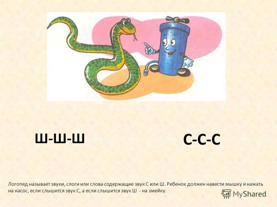 Дифференциация звуков С - Ш Учим ребенка сопоставлять и различать на слух звуки С и Ш Используем картинки-символы Используем прием подражания