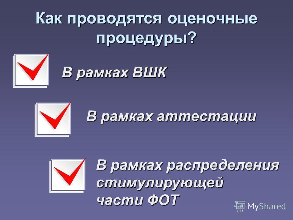 Как проводятся оценочные процедуры? В рамках ВШК В рамках аттестации В рамках распределения стимулирующей части ФОТ