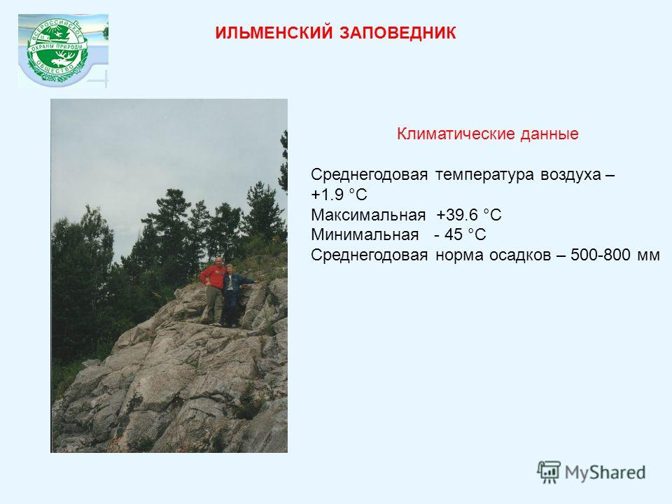 Климатические данные Среднегодовая температура воздуха – +1.9 °С Максимальная +39.6 °С Минимальная - 45 °С Среднегодовая норма осадков – 500-800 мм ИЛЬМЕНСКИЙ ЗАПОВЕДНИК
