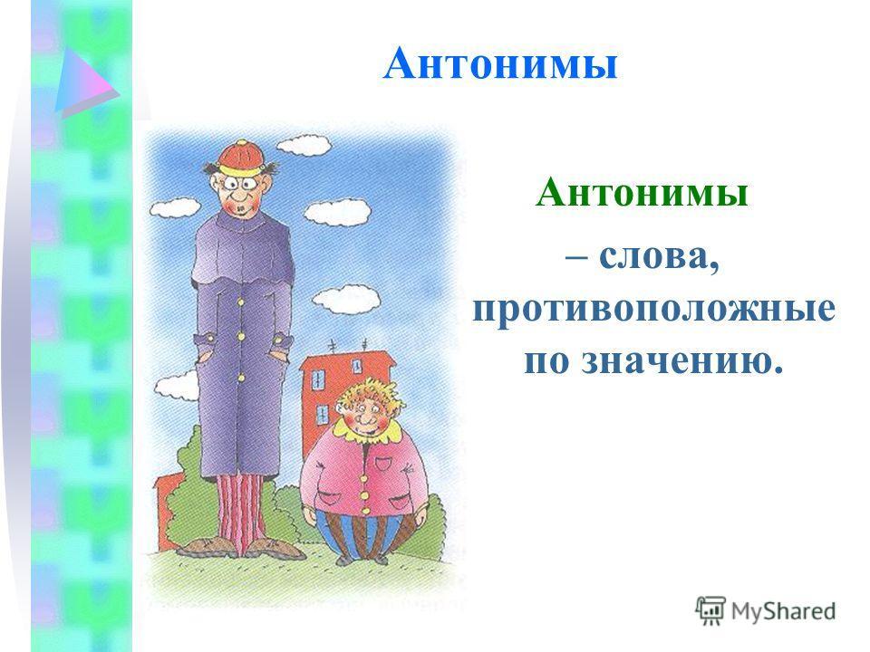 Антонимы – слова, противоположные по значению.