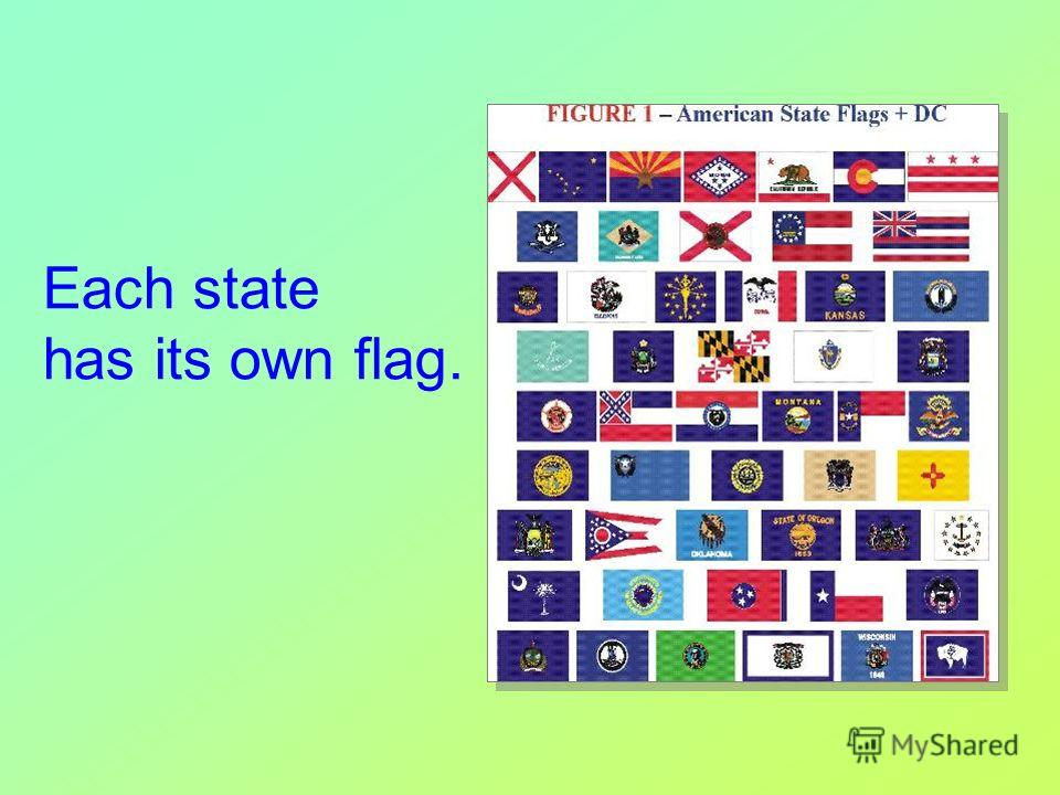 Each state has its own flag.