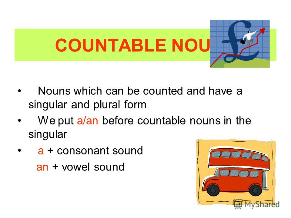 COUNTABLE NOUNS Nouns which can be counted and have a singular and plural form We put a/an before countable nouns in the singular a + consonant sound an + vowel sound