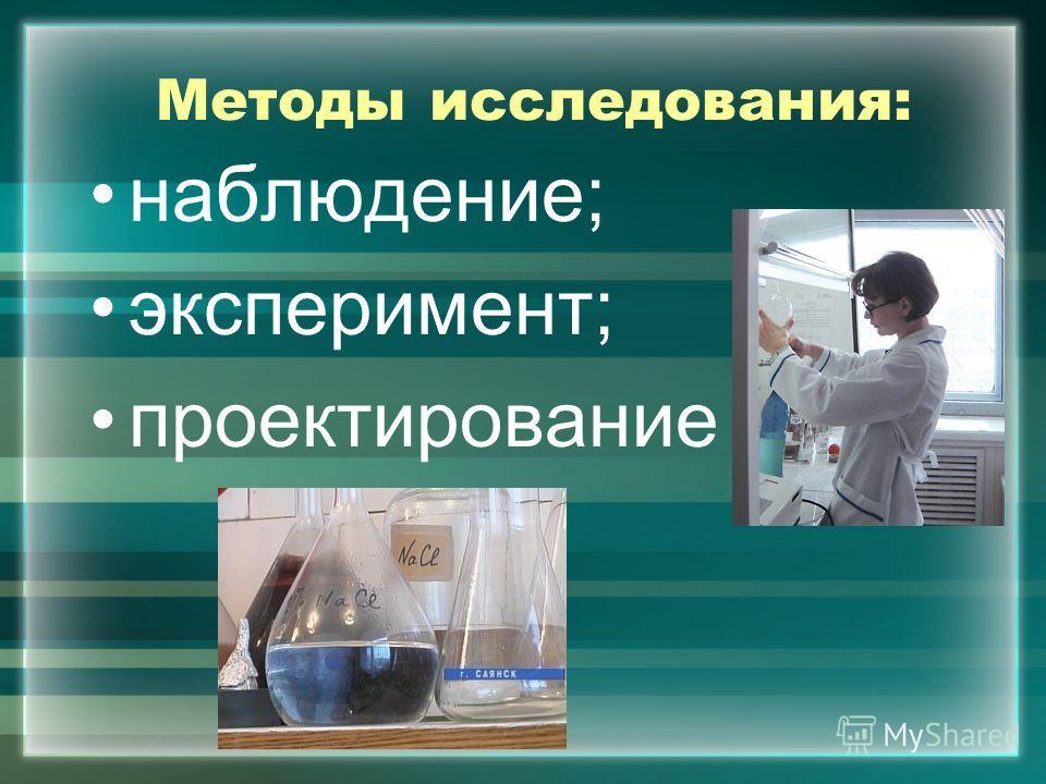 Методы исследования: наблюдение; эксперимент; проектирование