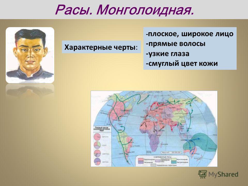 Характерные черты: - плоское, широкое лицо -прямые волосы -узкие глаза -смуглый цвет кожи Расы. Монголоидная.