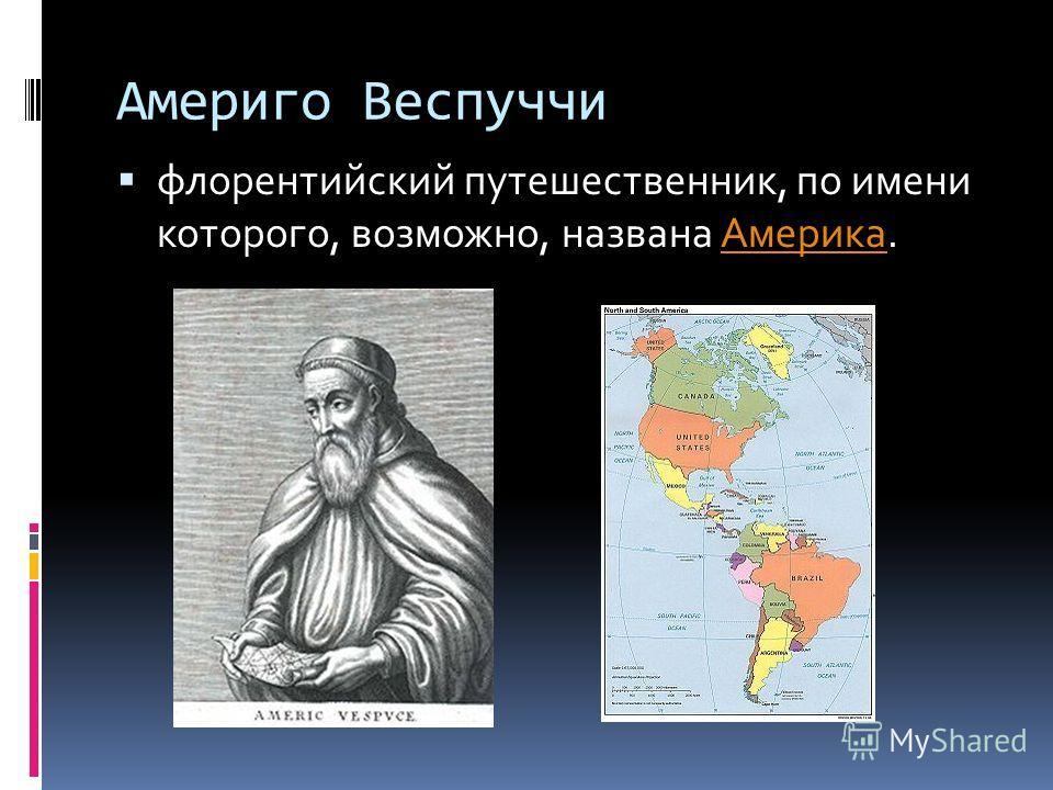 Америго Веспуччи флорентийский путешественник, по имени которого, возможно, названа Америка.Америка